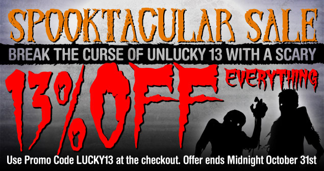 Halloween Sale: 13% Off Everything - use code LUCKY13
