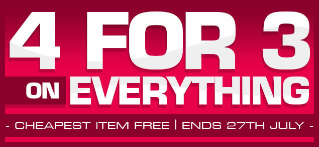Special Offer: 4 for 3: cheapest item free, offer ends 27th July
