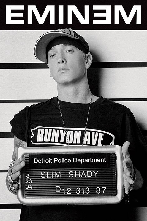 New slim shady mugshot eminem poster ebay for Eminem wall mural