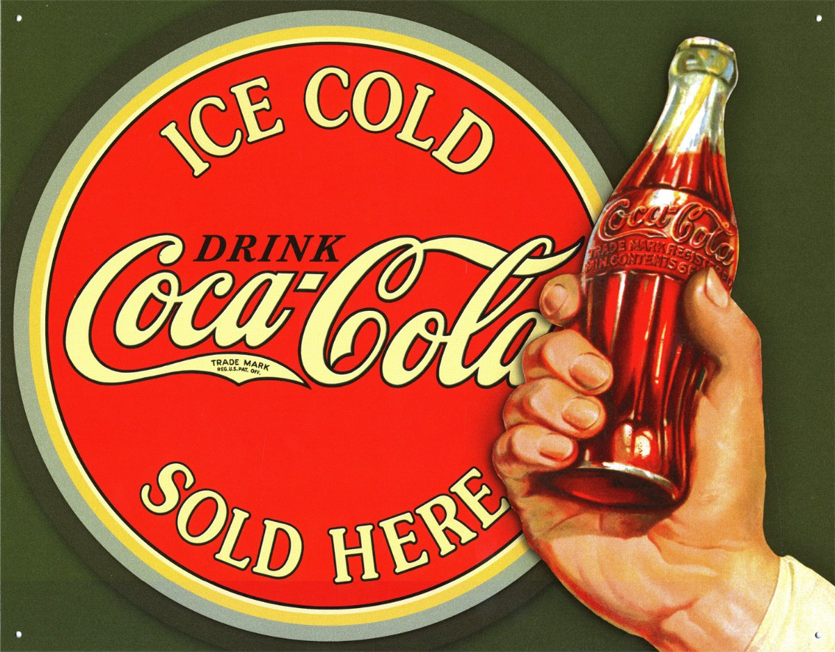 New-Coca-Cola-Ice-Cold-Bullseye-Coke-Metal-Tin-Sign