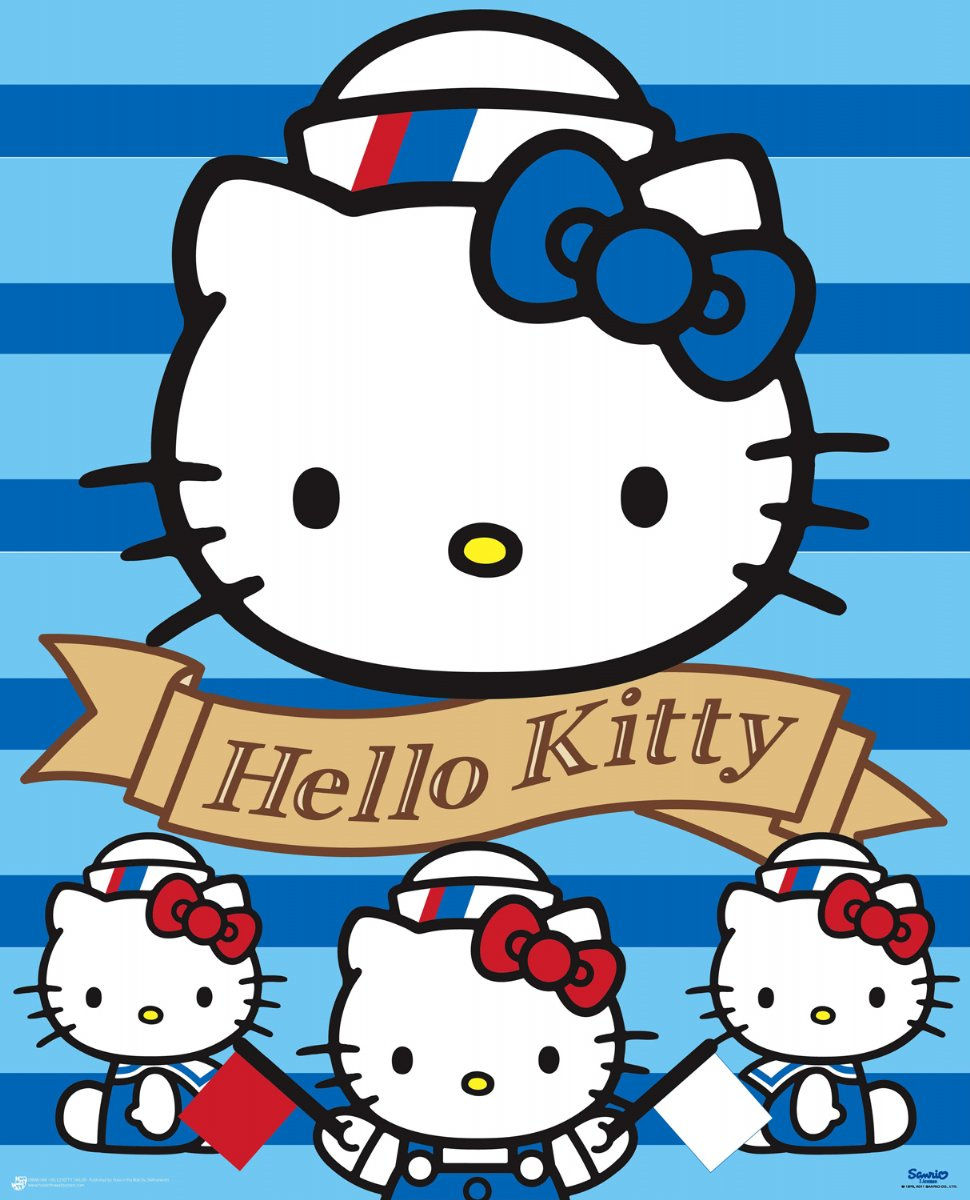new ahoy there hello kitty mini poster ebay. Black Bedroom Furniture Sets. Home Design Ideas