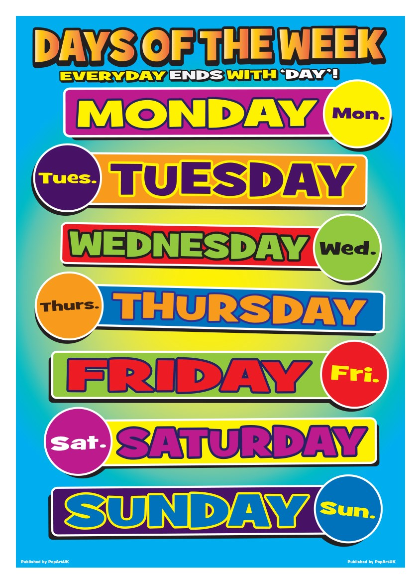 New Days Of Week Seven Learning Poster Ebay