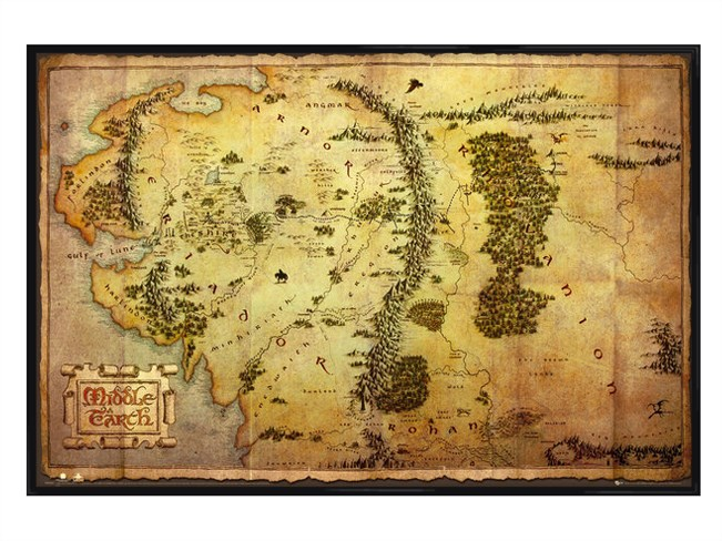 New-Gloss-Black-Framed-The-Hobbit-Map-of-Middle-Earth-Poster