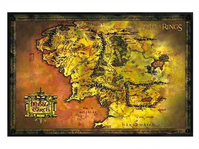 New-Gloss-Black-Framed-Lord-of-the-Rings-Map-Of-Middle-Earth-Poster