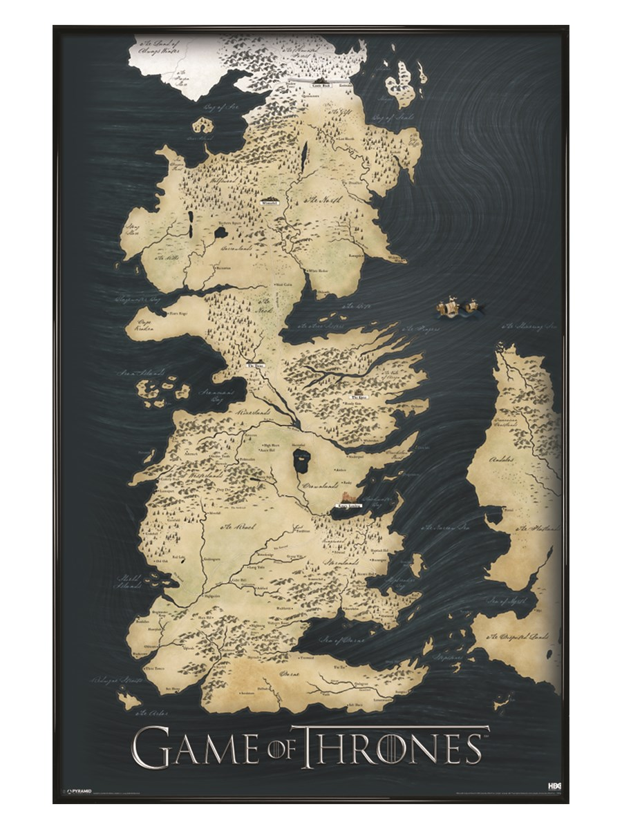 New-Gloss-Black-Framed-Game-of-Thrones-The-Seven-Kingdoms-of-Westeros-Map-Poster