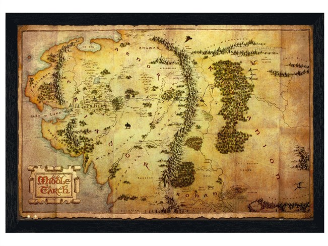 New-Black-Wooden-Framed-The-Hobbit-Map-of-Middle-Earth-Poster