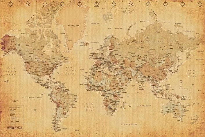 New-Map-Of-The-World-Vintage-Style-World-Map-Poster