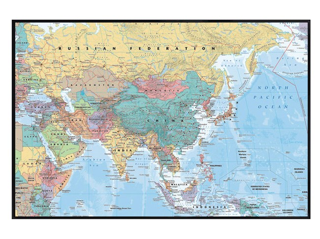 New-Gloss-Black-Framed-Asia-The-Middle-East-Map-Poster