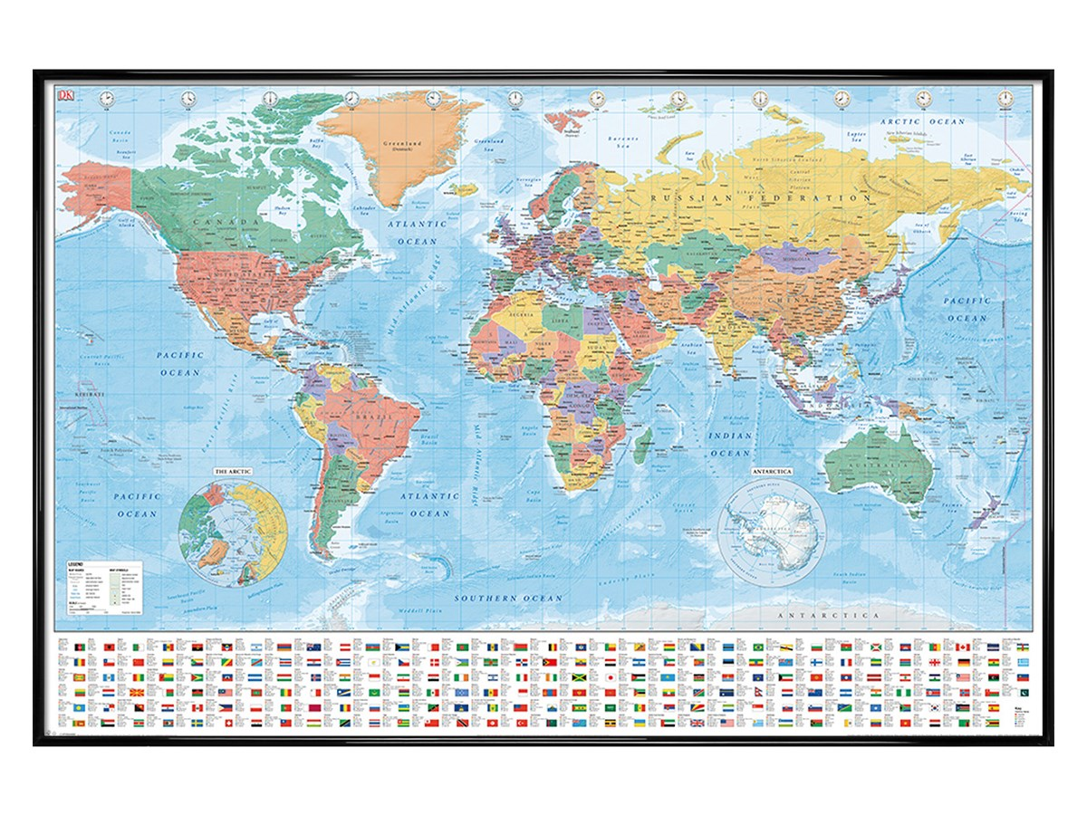 Gloss Black Framed World Map Flags And Facts Maxi Poster eBay