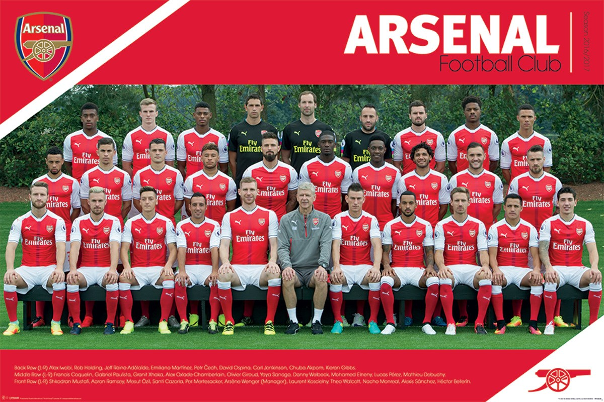 Arsenal fc team 16 17 afc poster ebay for Arsenal mural emirates