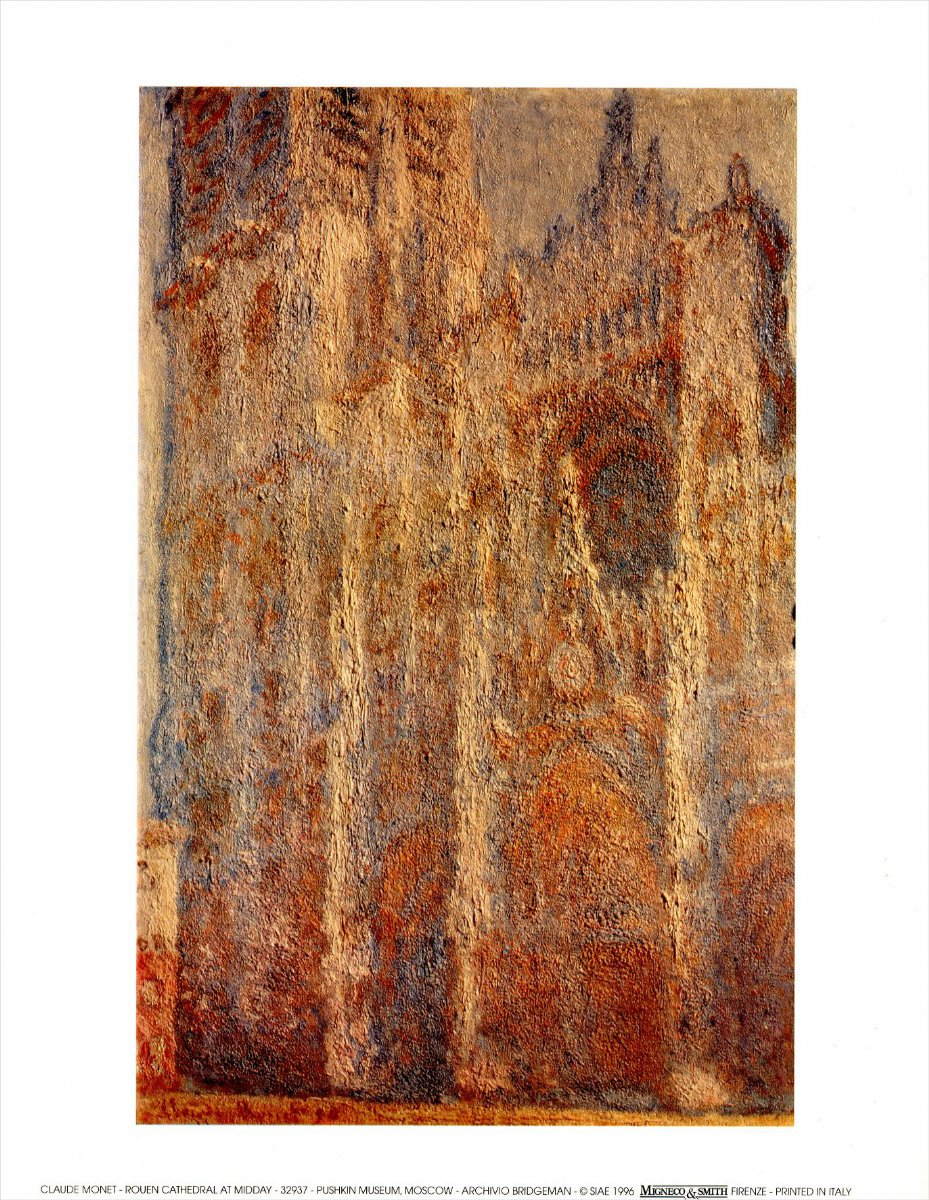 new rouen cathedral at midday claude monet mini print clearance sale ebay. Black Bedroom Furniture Sets. Home Design Ideas