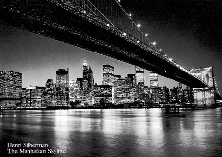 Skyline on Manhattan Skyline  New York City  Henri Silberman Print  120cm X 90cm