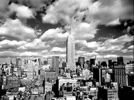 new york skyline at night black and. Photography Print: New York