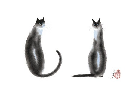 Two Cats Sitting - Cheng Yan