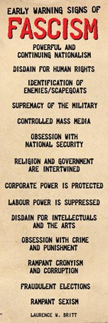 fraudulent elections one of fourteen defining characteristics of chart of the 14 indicators of a fascist regime the essay goes into more detail