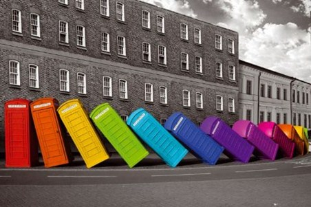 Multicoloured Falling Phoneboxes - Quirky British Photography