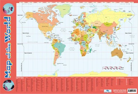 World map with equator and tropics all the countries are labelled and coloured the equator and both tropics of gumiabroncs Gallery