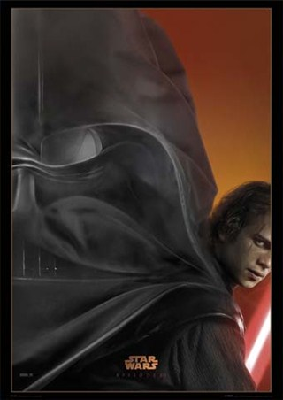Episode III – Revenge of the Sith movie poster shows both sides of Anakin in