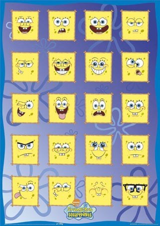 the many weird and wonderful faces of the cartoon character SpongeBob,