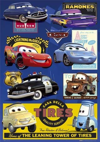 Cars: 7 Character Collage - Cars: The Movie