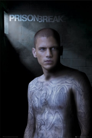 Michael Schofield with Blue Print Tattoo - Prison Break