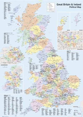"map of the uk and ireland. UK & Ireland - Political Map. 64cm x 90cm (25"" x 35"") Poster"