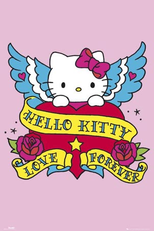 Hello Kitty poster is designed in a similar style to tattoo art,