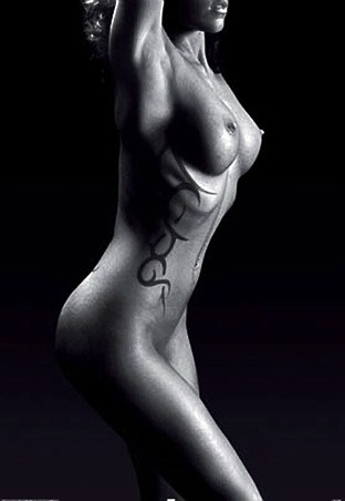 "Tribal Tattooed Nude - Black and White. 61cm x 91.5cm (24"" x 36"") Poster"
