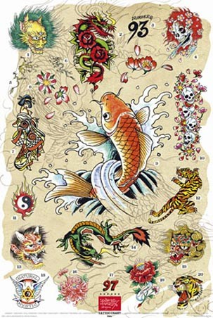 "Japanese Tattoo Collection - by Ed Hardy. 61cm x 91.5cm (24"" x 36"") Poster"