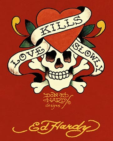 Tattoo Art Poster Card: On a bold, blood red background, this stunning