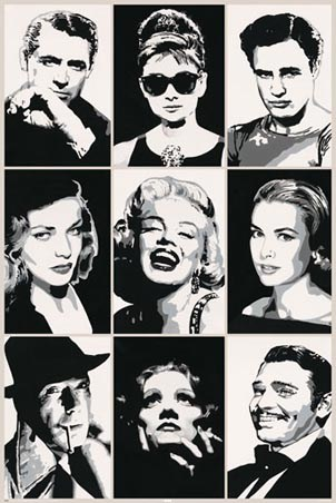 Celebrity posters on black and white celebrity portraits poster 91 5cm x 61cm buy online