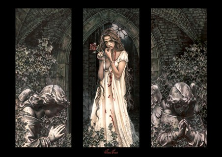 Thorny Roses outside a Church, Triptych - Victoria Frances