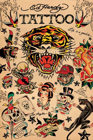 "Ed Hardy Collage - By Ed Hardy. 61cm x 91.5cm (24"" x 36"") Poster"