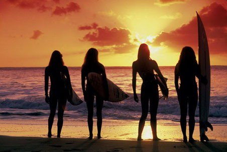 Surf Silhouette - Babes on the Beach