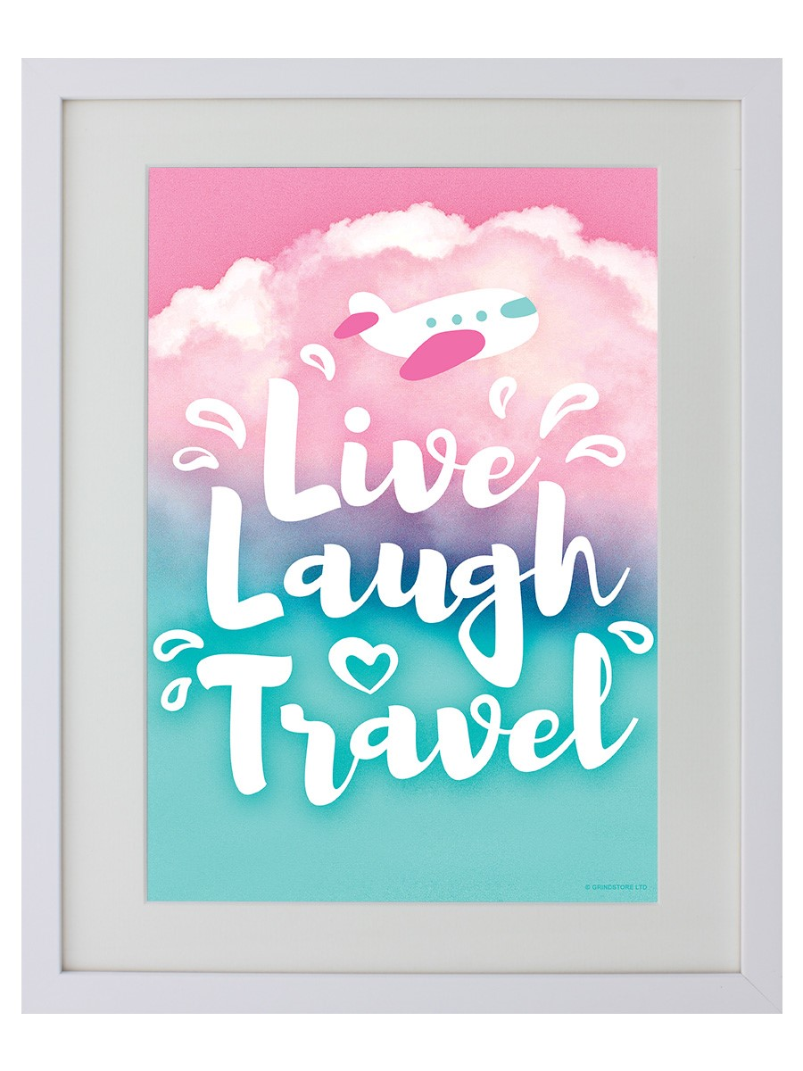 Poster Live Laugh Travel White Wooden Framed Print 31x38cm