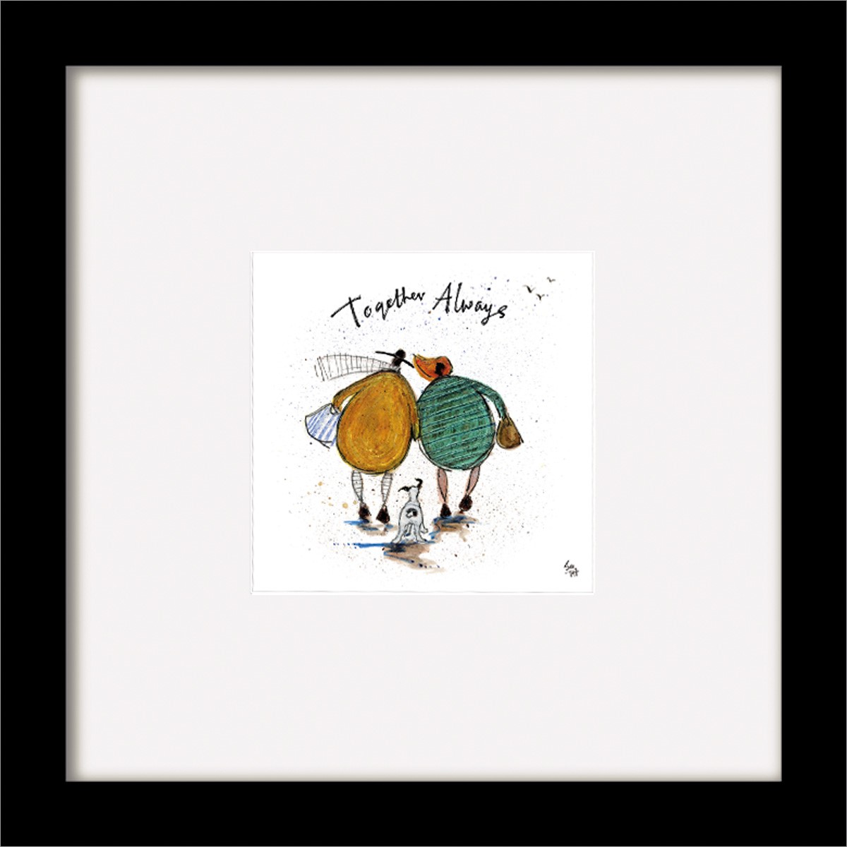 Sam Toft Print (together Always) Black Wooden Framed 35x35cm