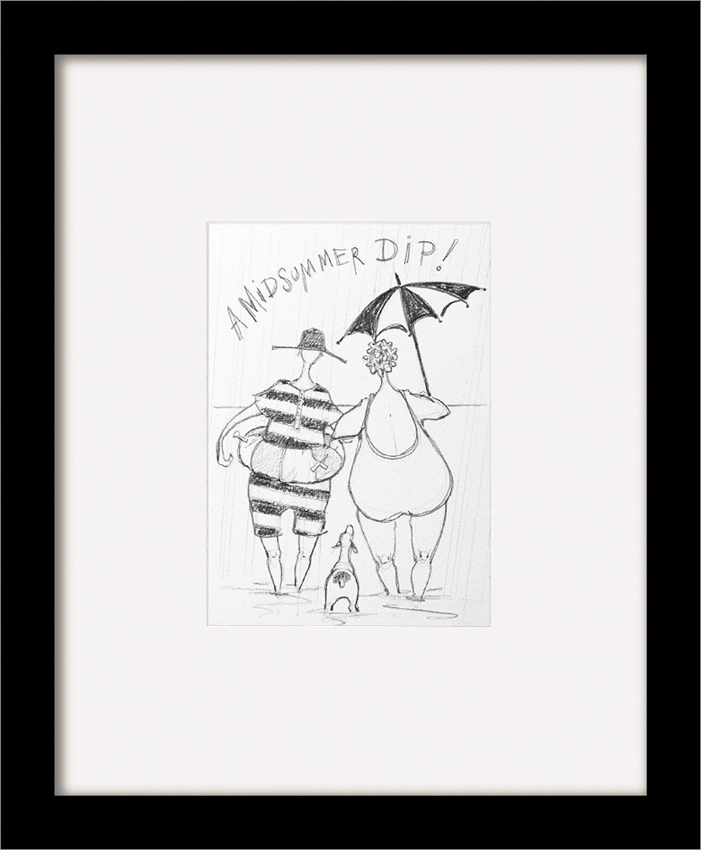 Sam Toft Print (a Midsummer Dip Sketch) Black Wooden Framed 30x35cm Bon Pour L'éNergie Et La Rate