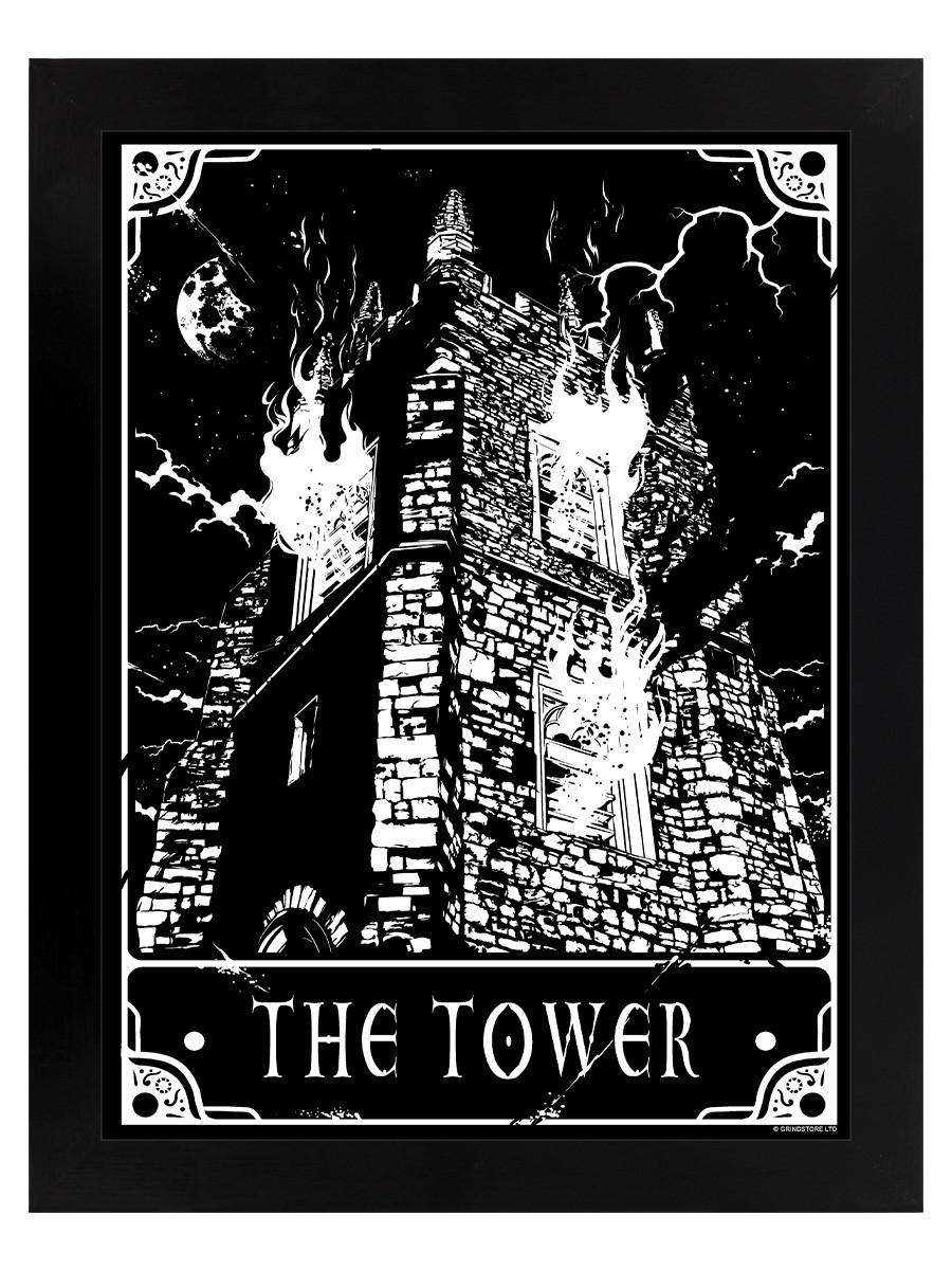 Soigneux Deadly Tarot Poster The Tower Black Wooden Framed 35x45cm Avoir Une Longue Position Historique