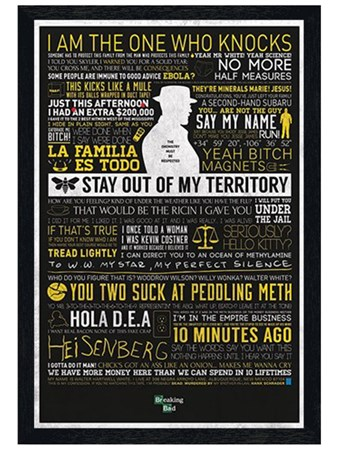 Black Wooden Framed The Many Sayings of Walter White, Breaking Bad ...