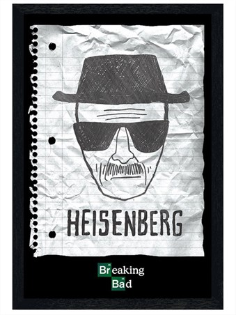 Black Wooden Framed Heisenberg Wanted Poster, Breaking Bad Framed ...