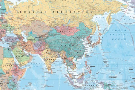 Asia & The Middle East, Political Map Poster - Buy Online
