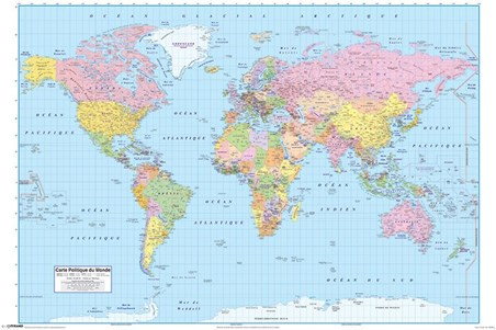 French World Map Carte Politique Du Monde Poster Buy Online - Where to buy a world map