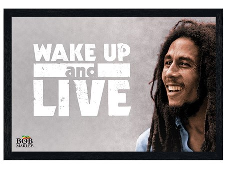 Black Wooden Framed Wake Up And Live, Bob Marley Framed Poster ...