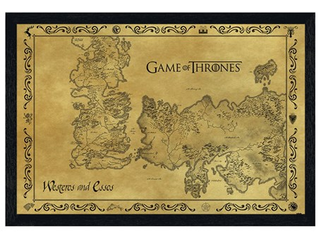 Black Wooden Framed Game Of Thrones Map, Antique Map Poster - Buy Online