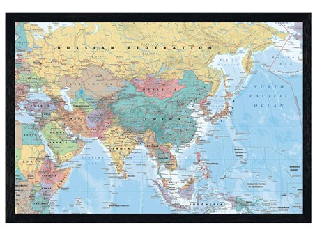 Black Wooden Framed Asia The Middle East Map Educational Map