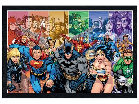 Black Wooden Framed Justice League of America, DC Comics Poster ...