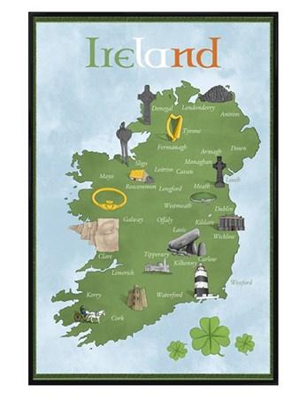 Golf Map Of Ireland.Gloss Black Framed Map Of Ireland Pretty Map Framed Poster Popartuk