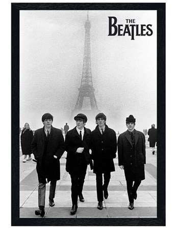 Black Wooden Framed Liverpool Lads in Paris, The Beatles Poster ...