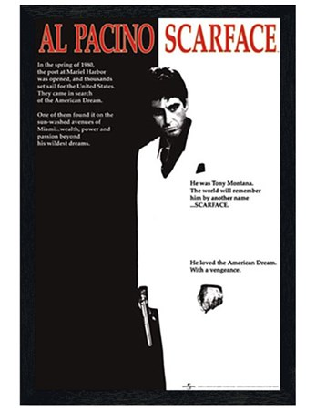 Black Wooden Framed Scarface Movie Score, Al Pacino - Scarface ...