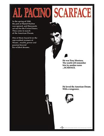 Gloss Black Framed Scarface Movie Score, Al Pacino - Scarface Poster ...